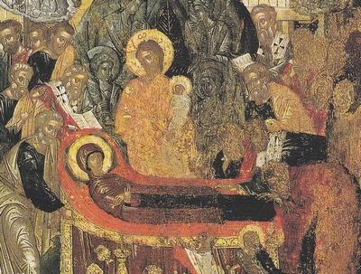 Détail icône Dormition de la Mère de Dieu